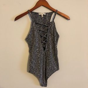 Express Tank Body Suit marbled gray and black